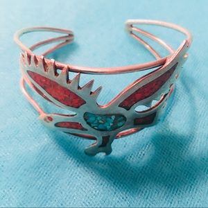 Vintage Navajo Cuff Bracelet with Coral &Turquoise